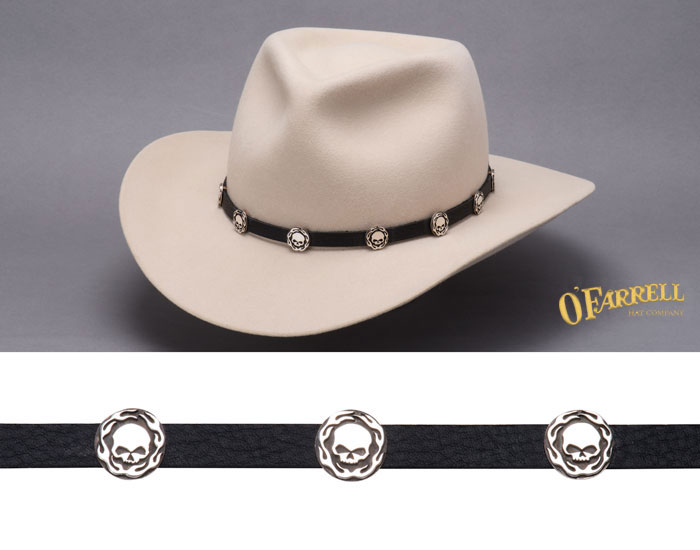 Aaron John Skulls and Flames Hat Band