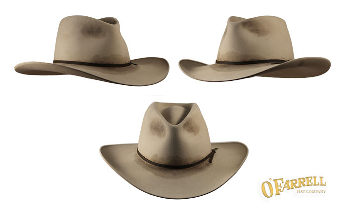 "Tight Cheyenne   Tapered pinched crown with crease height at 4 ¼"" and 3""  brim with lip curl. Shown here in sahara pure beaver felt with distressed  finish to ... 30fa3bb250c"