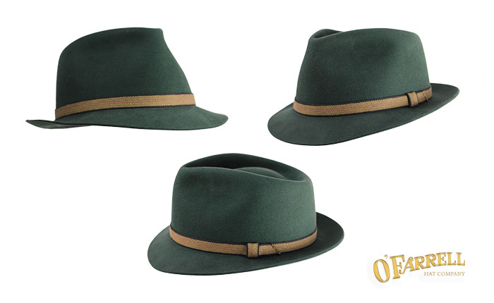 """Fedora  4   Traditional teardrop fedora style with crease height at 4"""" and  narrow 1 ¾"""" cup and snap brim. Shown here in forest green dress weight pure  ... faaae67b3de"""