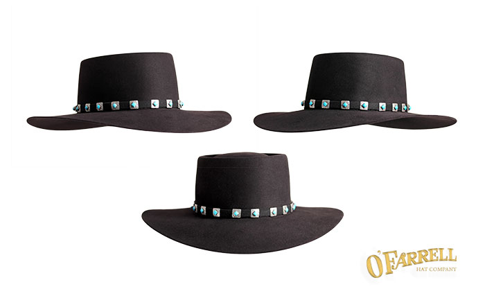 """Gaucho  138   Classic southwestern style with telescope crown with crease  height at 3 ¾"""" with 3 ¾"""" snapped brim. Shown here in black pure beaver felt  with ... efd2ac73323d"""