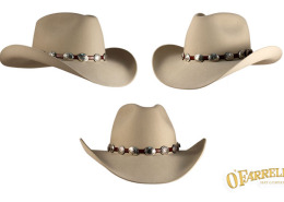 """9feb0955a68 RCA  28   Western style with crease height at 4 3 8"""" with 3 ½"""" brim. Shown  here in bone premium beaver felt with silver conchos on leather hatband by  ..."""