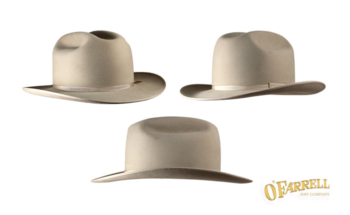 """Open Road  132   Medium frame traditional cattleman crown with crease  height at 4 ¼"""" with 2 7 8"""" brim snapped front and back. Shown here in  silver belly ... ca70a39b84d"""