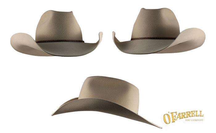 "03e7cdb1aa6 Manitoba  130   Classic western style with a crease height at 4 ¼"" with a 3  ¾"" brim with hand-rolls. Shown here in bone premium beaver felt with one of  a ..."